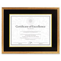"Hardwood DocumentCertificate Frame with Mat 11"" x 14"" Antiqued Gold Leaf (DAX1511T)"