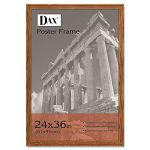"Solid Wood Poster Frame Traditional with Plexiglas Window 24"" x 36"" Med Oak (DAX285636X)"