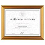 "Antique Colored Document Frame with Certificate Metal 8-12"" x 11"" Gold (DAXN1818N1T)"