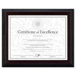 "Solid Wood AwardCertificate Frame 8-12"" x 11"" Black with Walnut Trim (DAXN19881BT)"