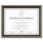 "Gold-Trimmed Document Frame with Certificate Wood 8-12"" x 11"" Black (DAXN2709N6T)"