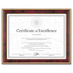 "Gold-Trimmed Document Frame with Certificate Wood 8-12"" x 11"" Mahogany (DAXN2709N7T)"
