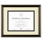 "Gold-Trimmed Document Frame with Certificate Wood 11"" x 14"" Black (DAXN2709S6T)"