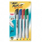 Mark-it Retractable Permanent Markers Assorted Four Colors Set of 4 (BICPMRP41ASST)