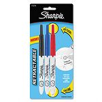 Retractable Ultra Fine Tip Permanent Marker Black Blue Red Set of 3 (SAN1735794)