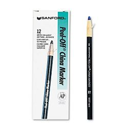 Peel-Off China Markers Blue Pack of 12 (SAN2072)