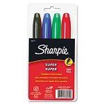 Super Permanent Markers Fine Point Assorted Set of 4 (SAN33074)