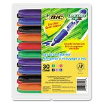 Great Erase Grip XL Dry Erase Markers Chisel Tip Assorted 30Pack (BICGDEM30ASST)