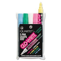 Glo-Write Fluorescent Markers Five Assorted Colors Set of 5 (QRT5090)