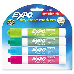 Low Odor Dry Erase Marker Chisel Tip Classic Colors Assorted Set of 4 (SAN81029)