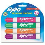 Low Odor Dry Erase Markers Chisel Tip Assorted Set of 4 (SAN81044)