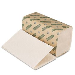 "Green Folded Towels Single-Fold Natural White 9""W x 10""L 268Pack Carton of 15 (BWK12GREEN)"