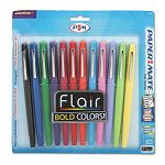 Flair Porous Point Stick Pen Assorted Ink Medium Pack of 12 (PAP74423)