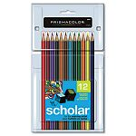Scholar Colored Woodcase Pencils 12 Assorted ColorsSet (SAN92804)