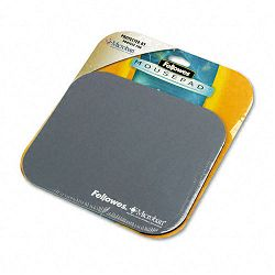 "Mouse Pad with Microban Nonskid Base 9"" x 8"" Silver (FEL5934001)"
