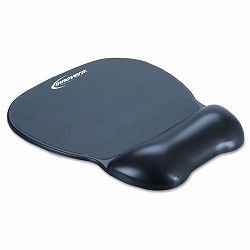 "Gel Mouse Pad with Wrist Rest Nonskid Base 8-14"" x 9-58"" Black (IVR51450)"