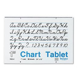 "Chart Tablets with Cursive Cover Ruled 24"" x 16"" White 30 SheetsPad (PAC74630)"