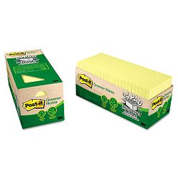 "Recycled Notes 3"" x 3"" Canary Yellow 24 75-Sheet PadsPack (MMM654R24CPCY)"