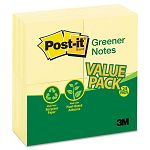 Original Recycled Note Pads 100 3 x 3 Sheets Canary Yellow 24 PadsPack (MMM654RP24YW)