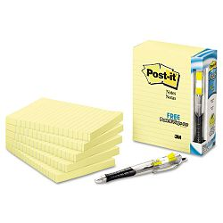 "Bonus Pack 4"" x 6"" Lined Canary Yellow 5 100-Sheet PadsPack (MMM6605PK)"