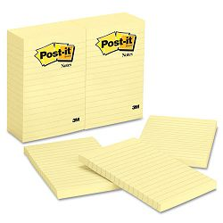 "Original Notes 4"" x 6"" Lined Canary Yellow 12 100-Sheet PadsPack (MMM660YW)"