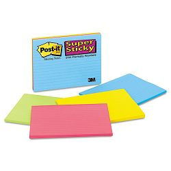 "Super Sticky Large Format Notes 8"" x 6"" Lined Four Colors 4 45-Sheet PadsPack (MMM6845SSPL)"