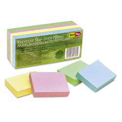 "100% Recycled Notes 1 12"" x 2"" Four Pastel Colors 12 100-Sheet PadsPack (RTG25701)"