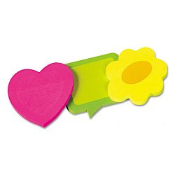 Two-Tone Self-Stick Notepads 3 Die-Cut Shapes 3 50-Sheet PadsPack (RTG41200)