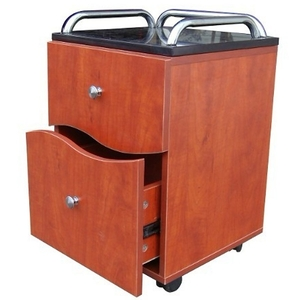 Pedicure Trolley - Pearwood Finish with Black Marble Top (AN9002)