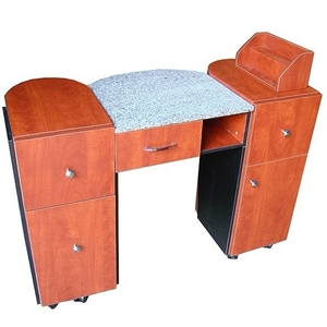 Nora Dual Pedestal Marble Top Manicure Table - Available in 3 colors! (AN912)