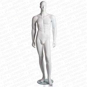 Full Male Mannequin with Molded Hair - Matte White (RPMMW-11)