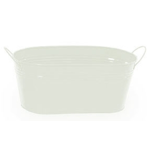 "12"" White Painted Oval Tub with Side Handles (BY14-1W)"