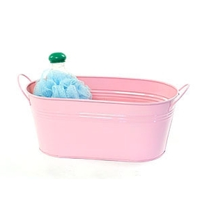 "12"" Pink Painted Oval Tub with Side Handles (BY14-1LP)"