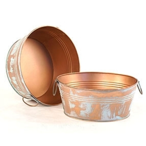 "10"" Verdigris Copper Round Tub with Side Handles (BY25-1VER)"
