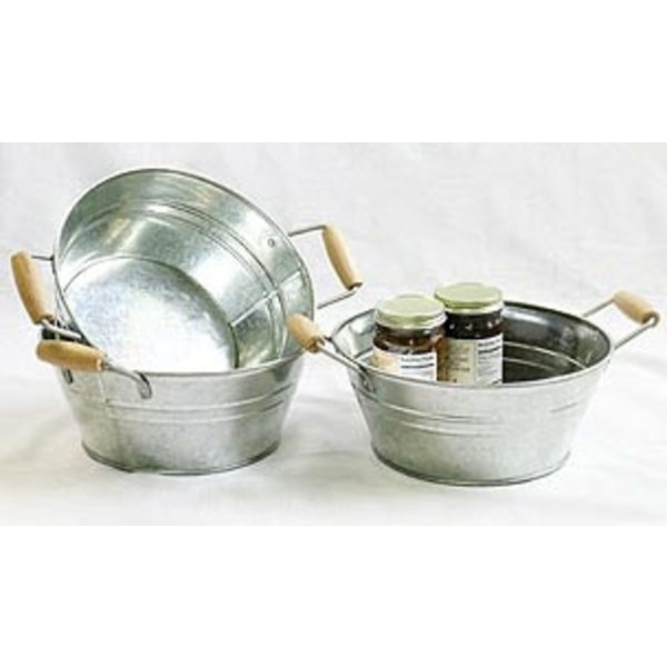 "9"" Galvanized Round Wooden Side Handle Tub (BY19-1)"