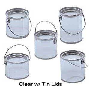 Clear Plastic Pail With Tin Lid Bulk Pack ()