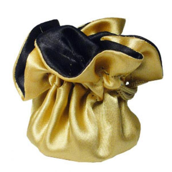 "7"" Reversible Satin Pouches With Cord Drawstrings Antique Gold + Black Case of 72 (HI800-29)"