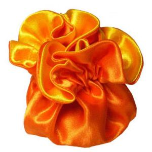 "7"" Reversible Satin Pouches With Cord Drawstrings Orange + Yellow Case of 72 (HI800-33)"