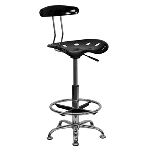 Tractor Stool with Backrest and Footrest Black by BIGA (LF-215-BLK-GG)