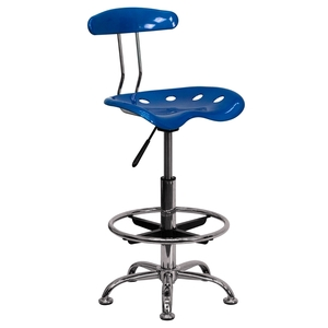 Tractor Stool with Backrest and Footrest Bright Blue by BIGA (LF-215-BRIGHTBLUE-GG)