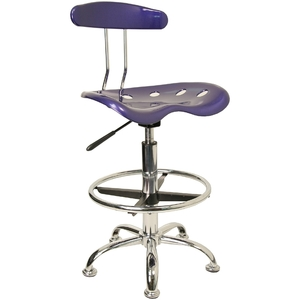 Tractor Stool with Backrest and Footrest Deep Blue by BIGA (LF-215-DEEPBLUE-GG)