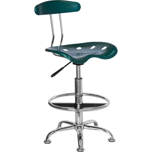 Tractor Stool with Backrest and Footrest Green by BIGA (LF-215-GREEN-GG)