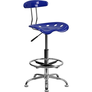 Tractor Stool with Backrest and Footrest Nautical Blue by BIGA (LF-215-NAUTICALBLUE-GG)