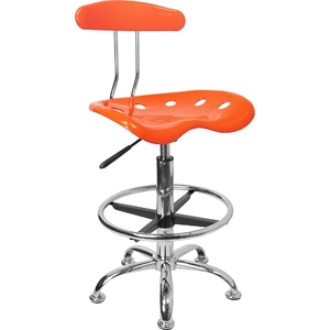 Tractor Stool with Backrest and Footrest Orange Yellow by BIGA (LF-215-ORANGEYELLOW-GG)