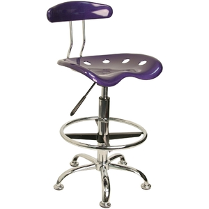 Tractor Stool with Backrest and Footrest Violet by BIGA (LF-215-VIOLET-GG)