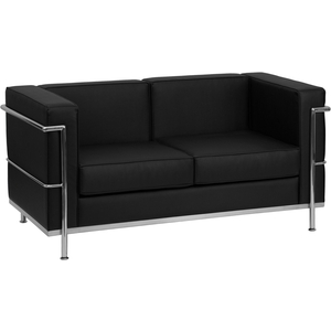 Bre Series Reception Love Seat Black by BIGA (ZB-BRETTFORD-810-2-LS-BK-GG)
