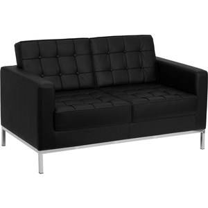 Lac Series Reception Love Seat Black by BIGA (ZB-LACEY-831-2-LS-BK-GG)