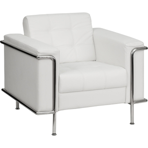 Les Series Reception Chair White by BIGA (ZB-LESLEY-8090-CHAIR-WH-GG)