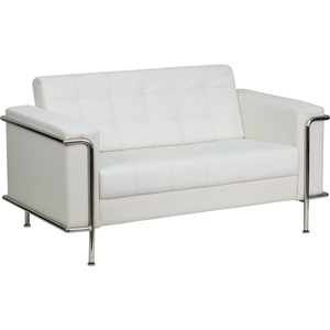 Les Series Reception Love Seat White by BIGA (ZB-LESLEY-8090-LS-WH-GG)