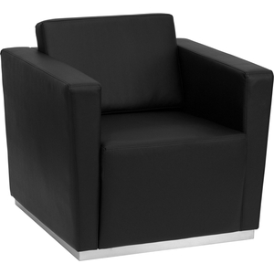 Tri Series Reception Chair Black by BIGA (ZB-TRINITY-8094-CHAIR-BK-GG)